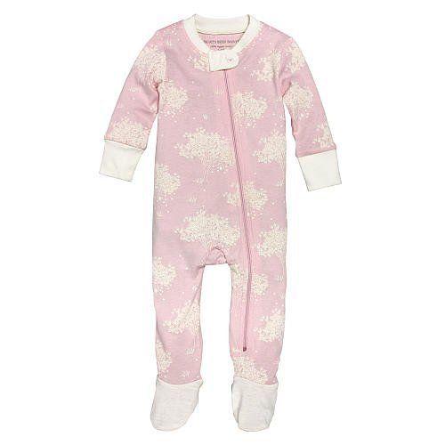 ea536e8c8 Burt s Bees Baby Girl Zip Up Coverall Sleeper Footie ~ Pink   Ivory ...