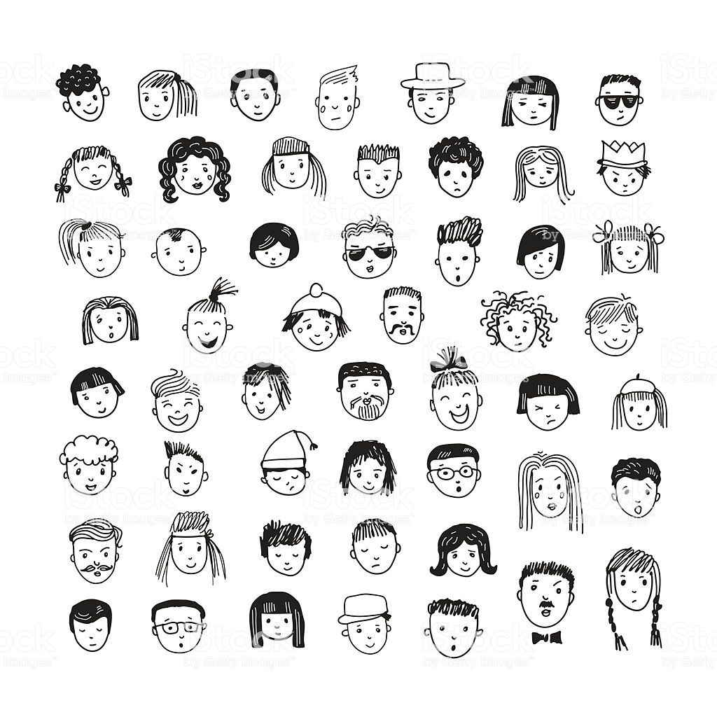 Best Funny Face Cartoon vector set. 53 different funny faces. Cartoon vector set. 53 different funny faces. royalty-free cartoon vector set 53 different funny faces stock vector art & more images of adult 6