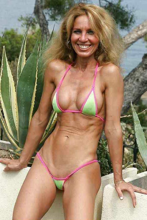 Mature women in tiny bikinis