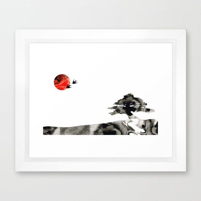 #zen #asianart Awakening - Zen Landscape Art Framed Art Print