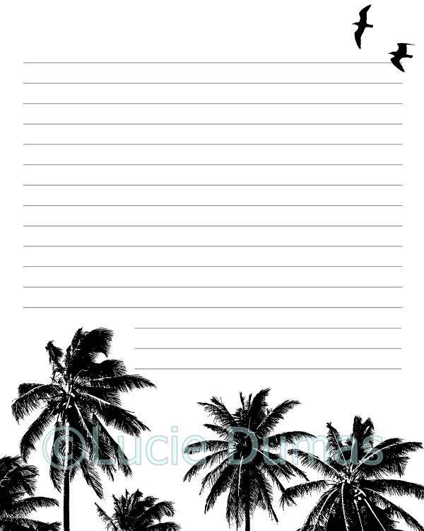 Digital Printable Journal writing lined Page Design 27 Palm Trees