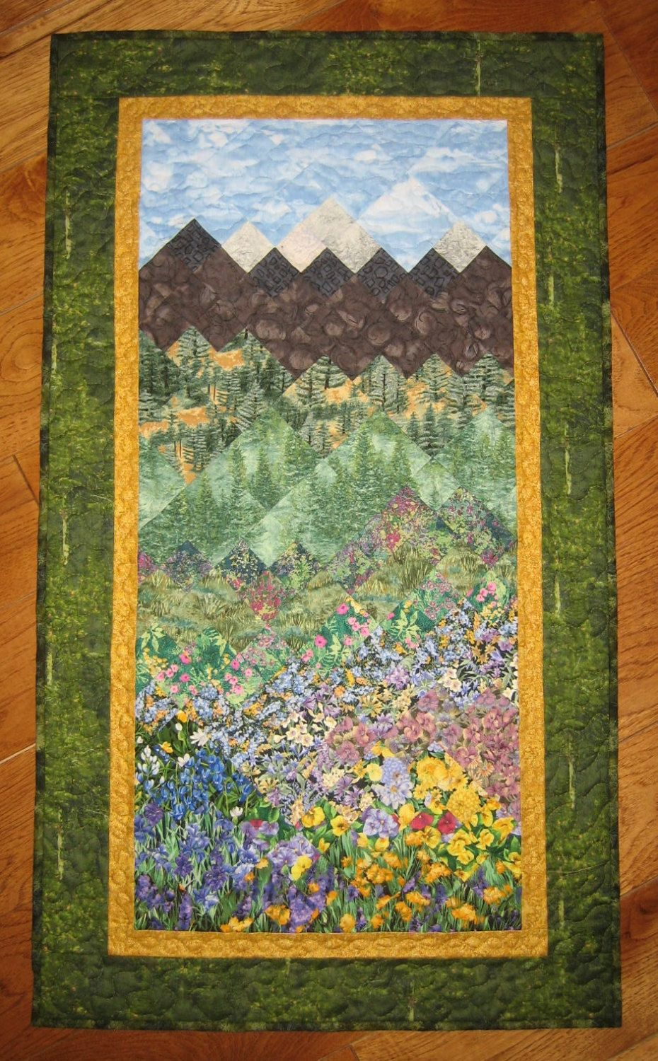 Art Quilt Fabric Wallhanging Pine Trees Mountain Flowers Handmade Quilted Landscape Quilt Landscape Art Quilts Art Quilts Landscape Quilts