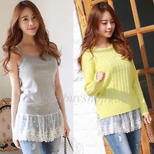 0a75584993536a Womens Camisole Long Tank Top Extender Lace Shirt Trim Layering Tank ...