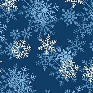 Blizzard Dark Blue - Snowflakes Fleece Fabric Print