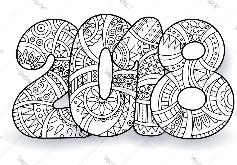 Printable new years coloring pages 2018 art journal - Color for new year 2019 ...