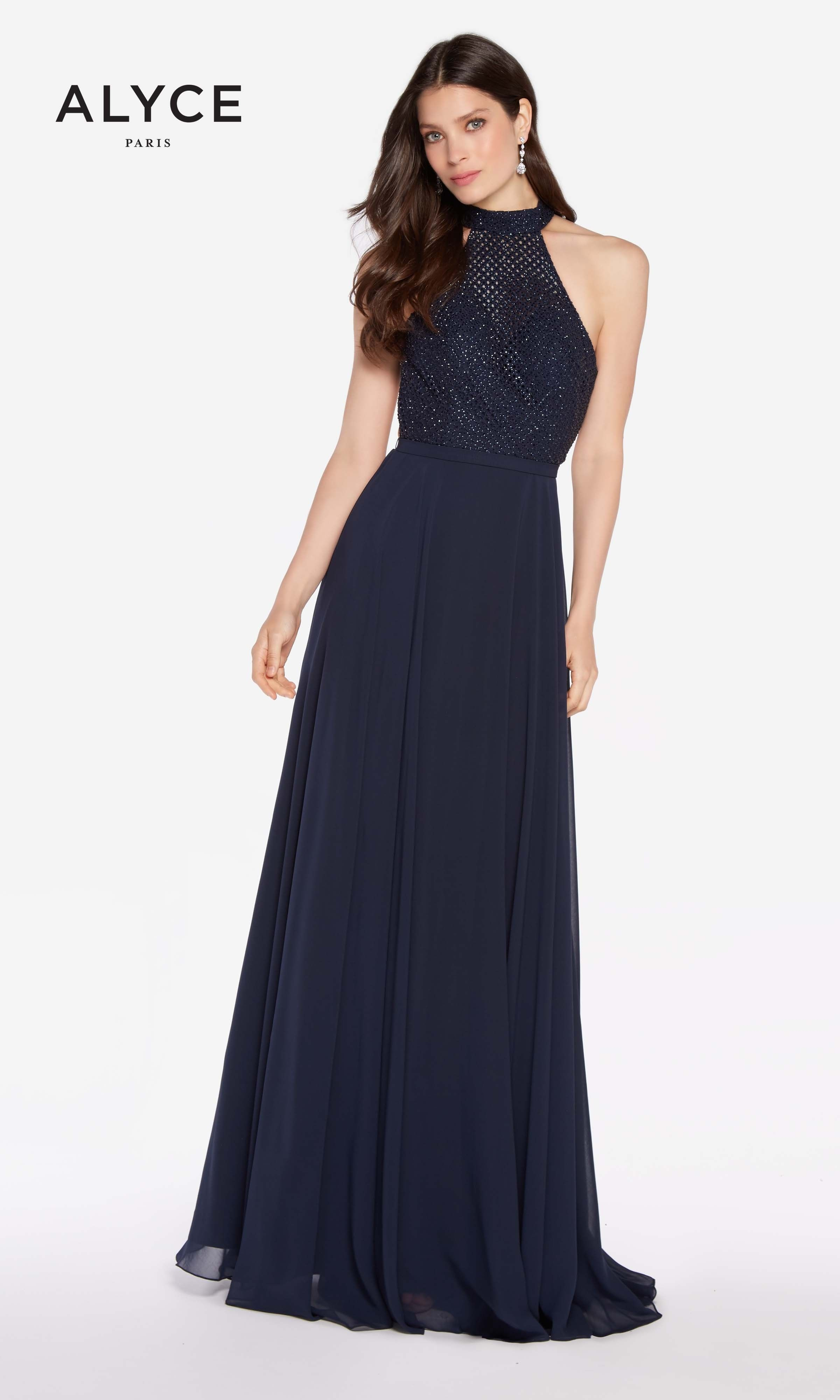 8ae3b0af720 Timeless Alyce 60160 won t disappoint. The halter top chiffon A-line ...