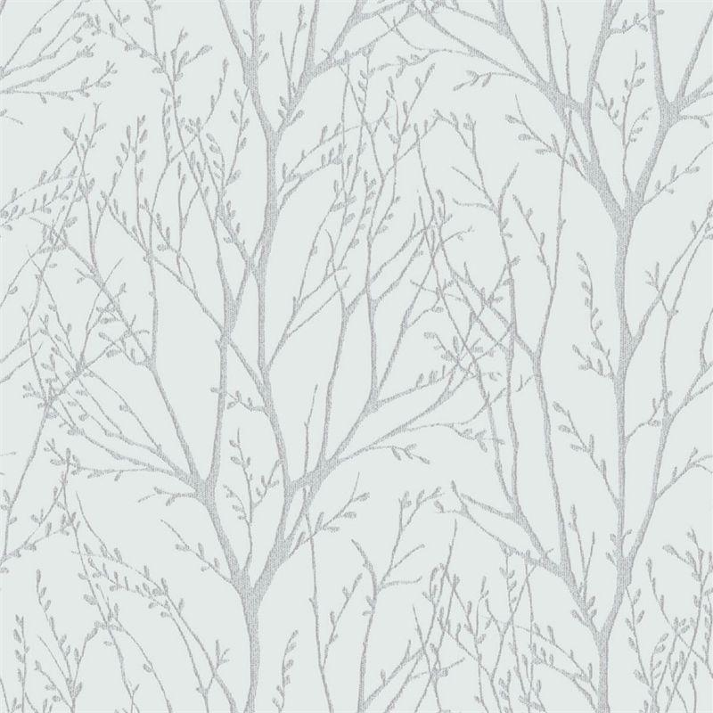 Delamere Blue Silver Wallpaper Farmhouse Wallpaper Silver Tree Wallpaper Silver Wallpaper