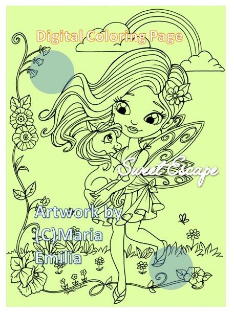 1 Fairy and Baby unicorn Digital Coloring Page by SweetEscapeDigis