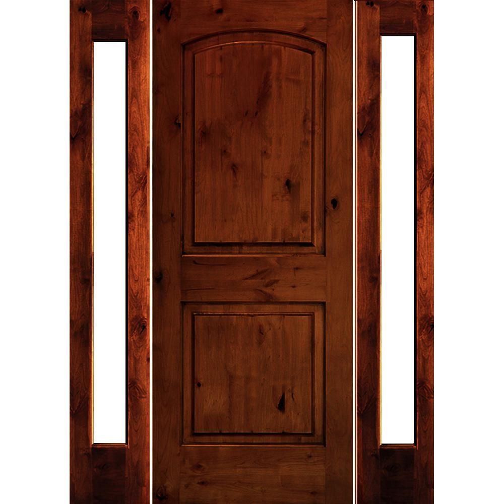 Krosswood Doors 70 In X 80 In Rustic Knotty Alder Arch Top Red Chestnut Stained Wood Right Hand Single Prehung Front Door Phed Ka 002 36 68 134 Rh Dfsl Rc In 2020 Wood Exterior Door Knotty Alder Rustic Doors