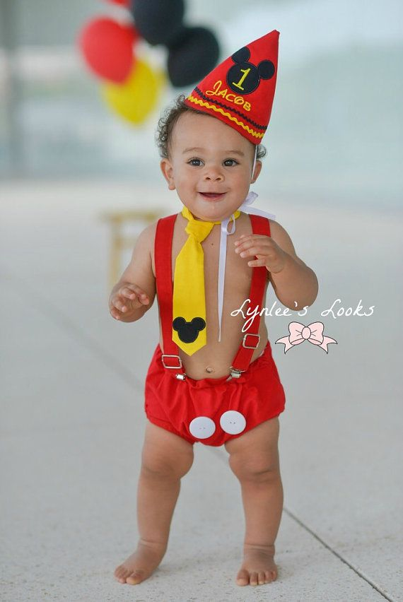 Mickey Mouse Cake Smash Outfit Diaper By LynleesLooks