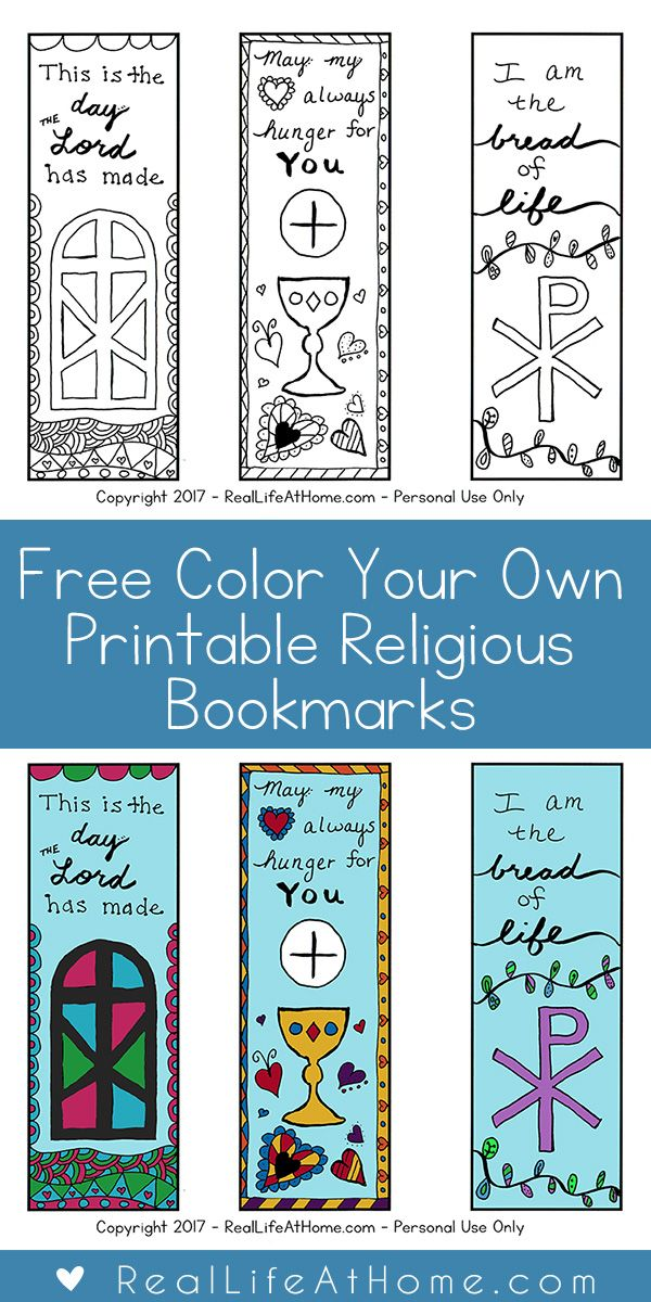 Free Color Your Own Printable Religious Bookmarks for