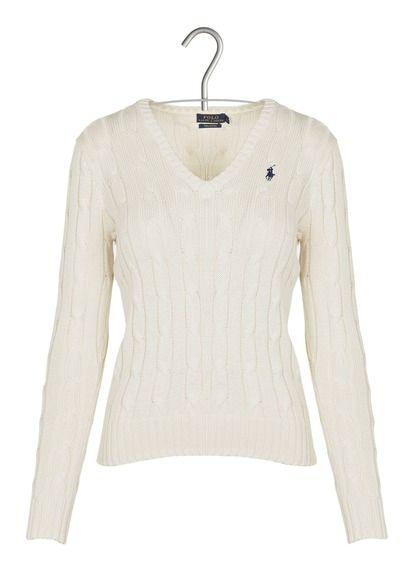 Lauren Pull V Blanc Maille En Coton By Ralph Col Polo Torsadée N80OPXwnk