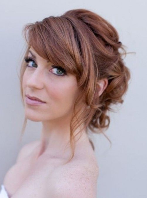 39 Chic And Pretty Wedding Hairstyles With Bangs Weddingomania Romantic Wedding Hair Wedding Hair Front Medium Hair Styles