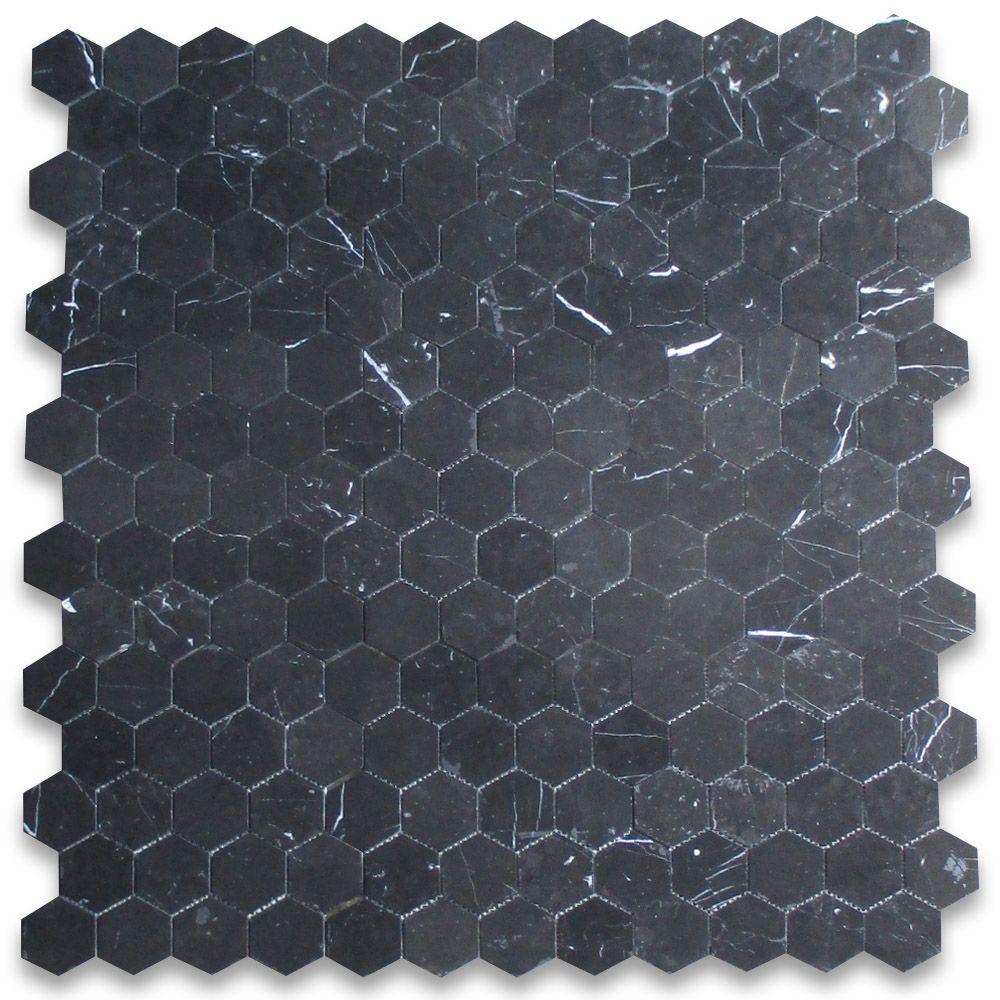 Nero Marquina Black Marble 3 Inch Hexagon Mosaic Tile Honed Stone Center Online Hexagon Mosaic Tile Hexagonal Mosaic Mosaic Tiles