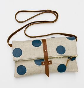 Image of foldover crossbody bag with hand cut leather polka dots (peacock)
