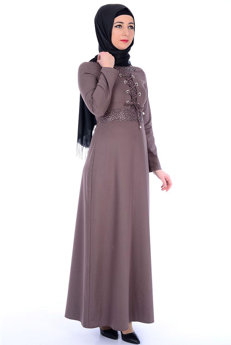 7aa5ce41ef1ba Drop Baskılı Vizon Elbise - 2366-01 Tesettür Elbise - Tesettür Elbise  Modelleri ve Fiyatları
