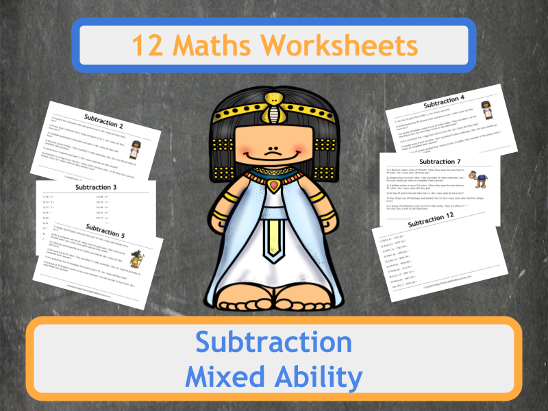 Ancient Egyptian Themed Subtraction Worksheets | Pinterest