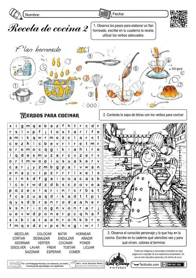 Sopa de letras: receta de cocina | biblioteca | Pinterest | Spanisch ...