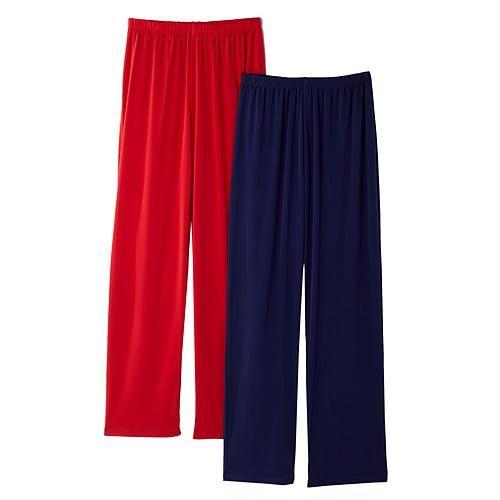 Slinky® Brand 2pk Knit Basic Pants - Purpleorchid/Turq