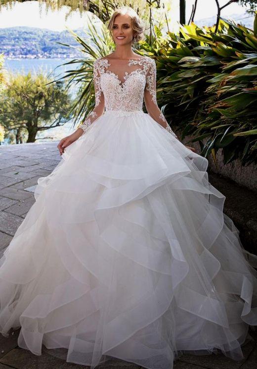 Elegant Appliques Full Sleeve White Colored Golf Ball Gown Wedding Dresses Tulle Brid Tulle Wedding Dress Tulle Wedding Dress Ballgown Ball Gown Wedding Dress