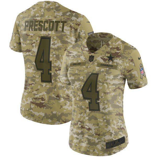 75e2fab7a55 Dak Prescott Dallas Cowboys Nike Women's Salute to Service Limited Jersey  Camo #DallasCowboys