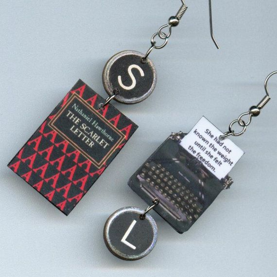 The Scarlet Letter Earrings quote vintage by DesignsByAnnette, $16.00