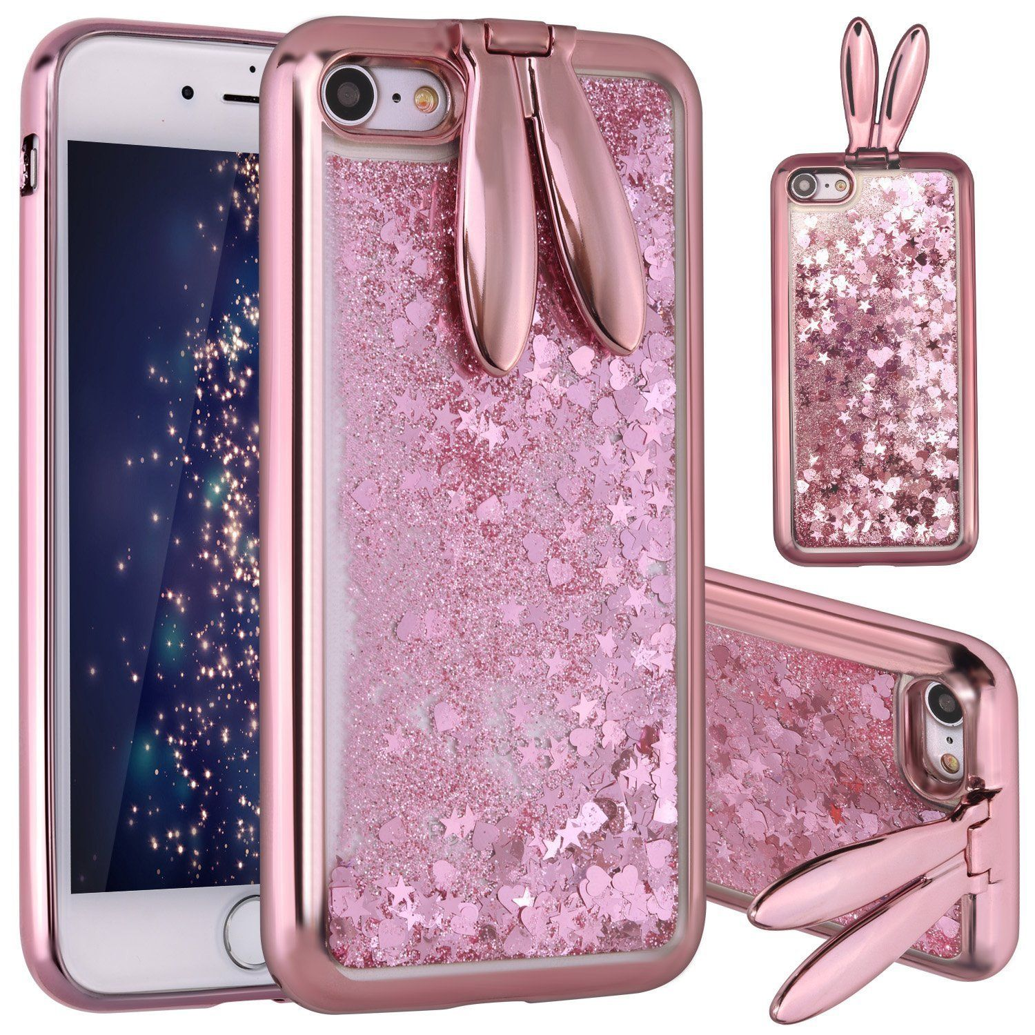 "For iPhone 7 4 7"" For iPhone 8 4 7"" NAMA 3D easter Bunny Rabbit Ear Kickstand Liquid Glitter waterfall Floating Stars Hearts Bling Quickstand TPU Cover Case"