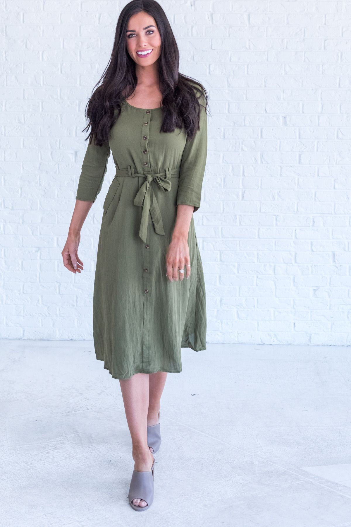 Olive Midi Dress Cute Dress Outfit Ideas For Winter Fall Dress Outfit Idea Dresses For Women Casual Winter Winter Dresses Cute Dresses Women Dresses Classy