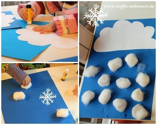 Photo of Handicrafts with children Handicrafts for children Snow Winter Snow cloud Wattebal