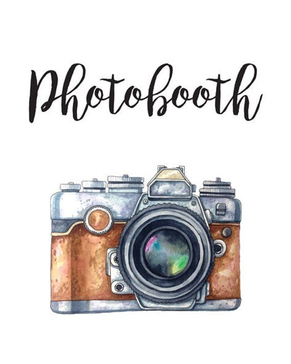 Photobooth Wedding Sign, Printable Photo Booth Poster with Vintage Watercolor Camera. Digital Print, Instant Download.