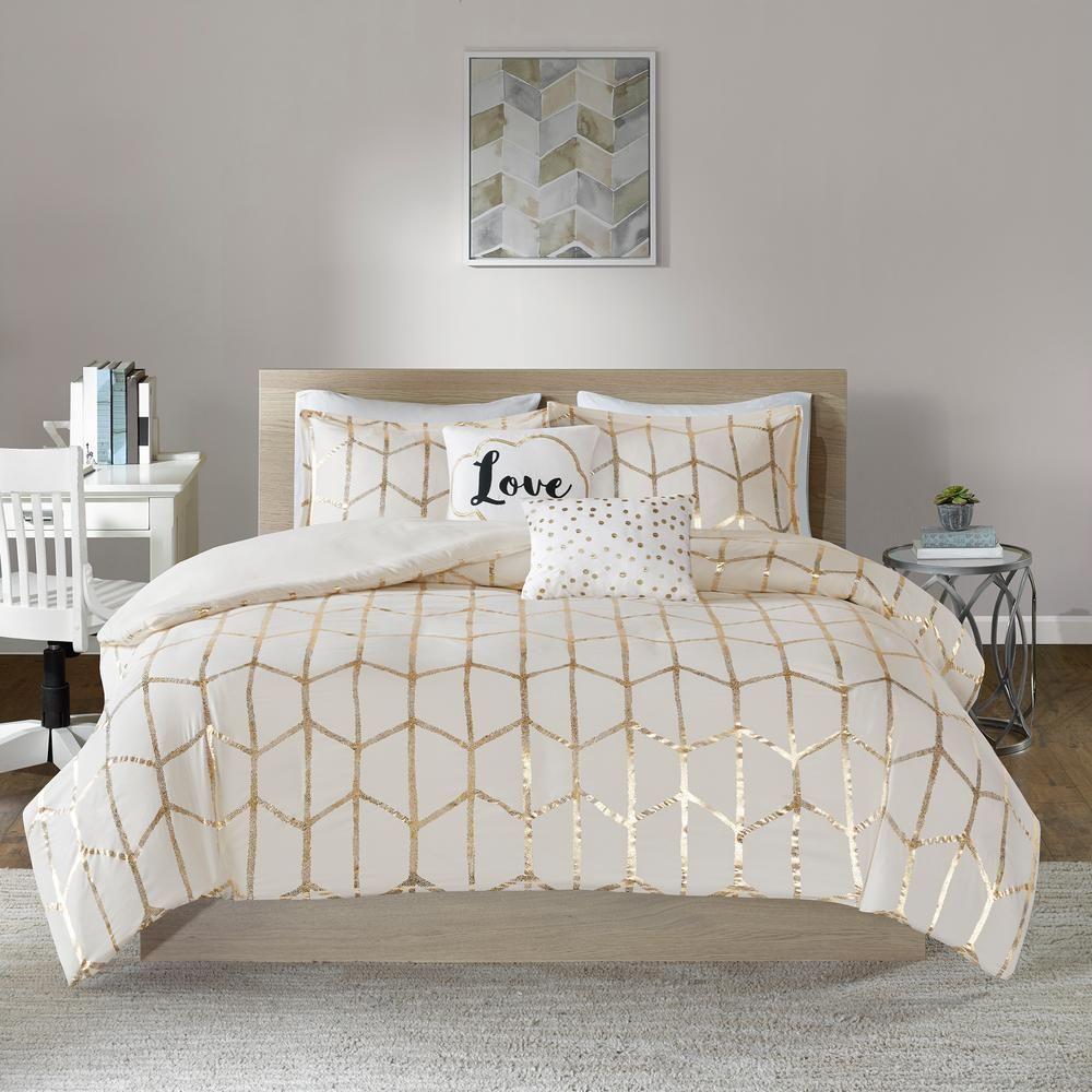 Intelligent Design Khloe 5 Piece Ivory Gold King Duvet Cover Set Id12 1512 Gold Comforter Set Comforter Sets Gold Comforter