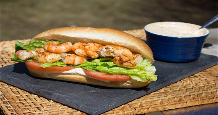 Grilled Shrimp Po-Boys with Cajun Mayo