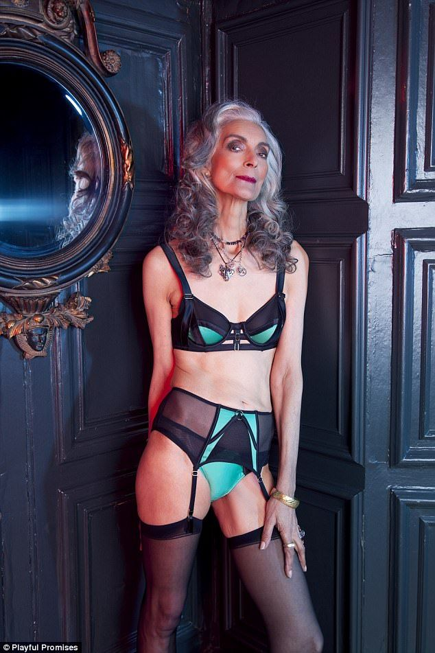 62fe6c06e Pam Lucas, 67, who took up modelling in her 50s strikes a pose in a  seductive black and green lingerie set