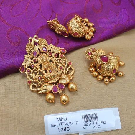 91fdbd157461a CZ, Ruby & Emerald Stones Lakshmi & Peacock Design With Pearl Drop ...