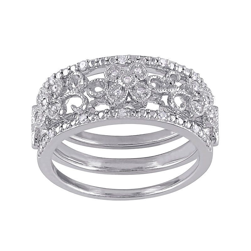 110 ct tw diamond sterling silver 3pc floral ring
