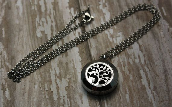 Essential Oil Diffuser Necklace- Aromatherapy Necklace- Stainless Steel Pendant- Stainless Steel Aromatherapy Necklace- Tree Necklace 20mm  Would you