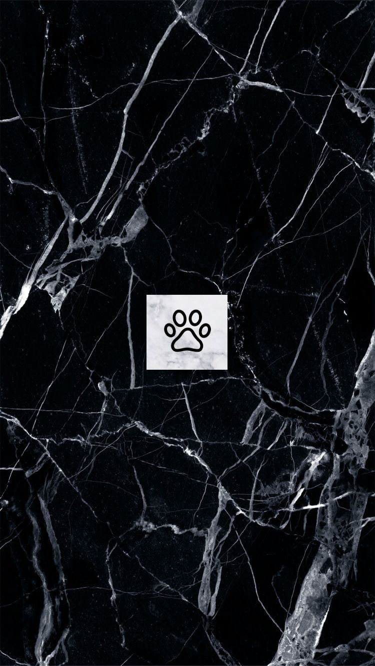 black marble. marble. paw print logo. instagram highlights