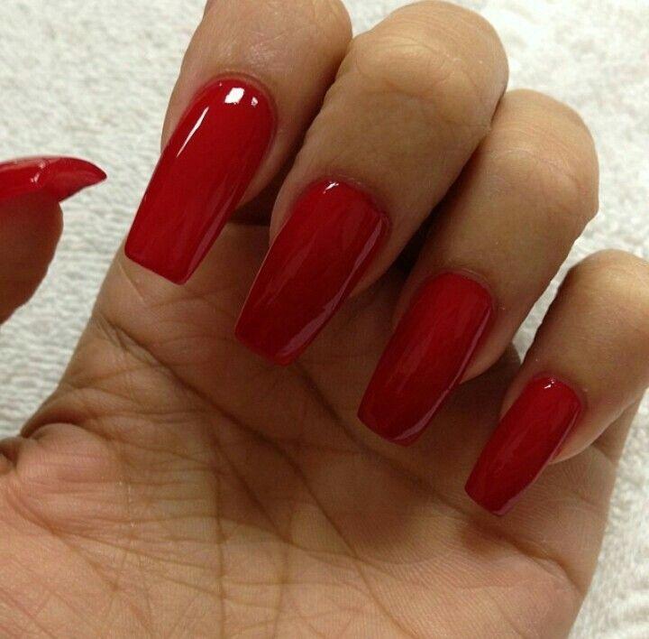 Red Square Nails #nails   Dip ♡   Pinterest   Square nails, Nail ...