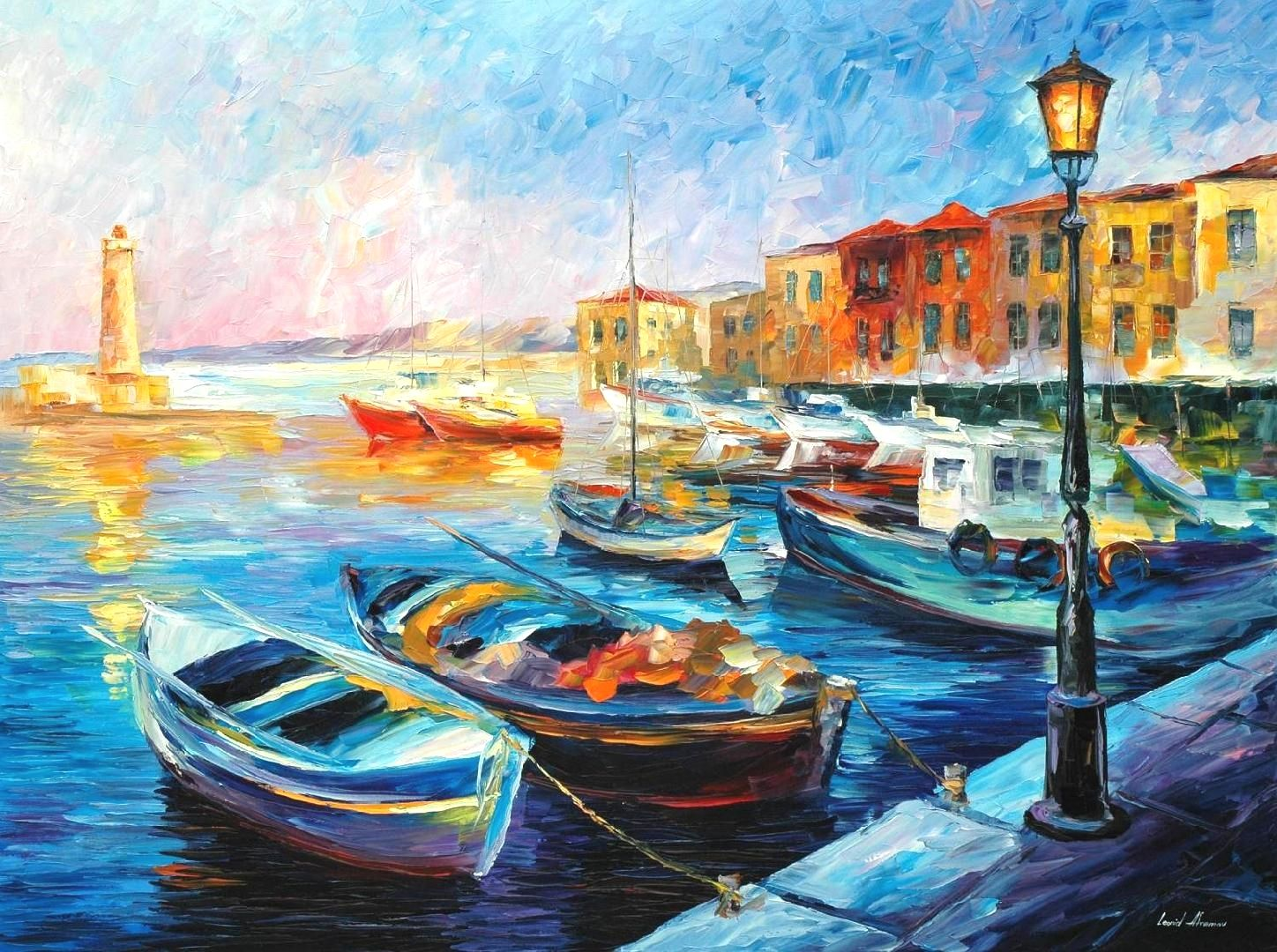 Fishing boats palette knife oil painting on canvas by