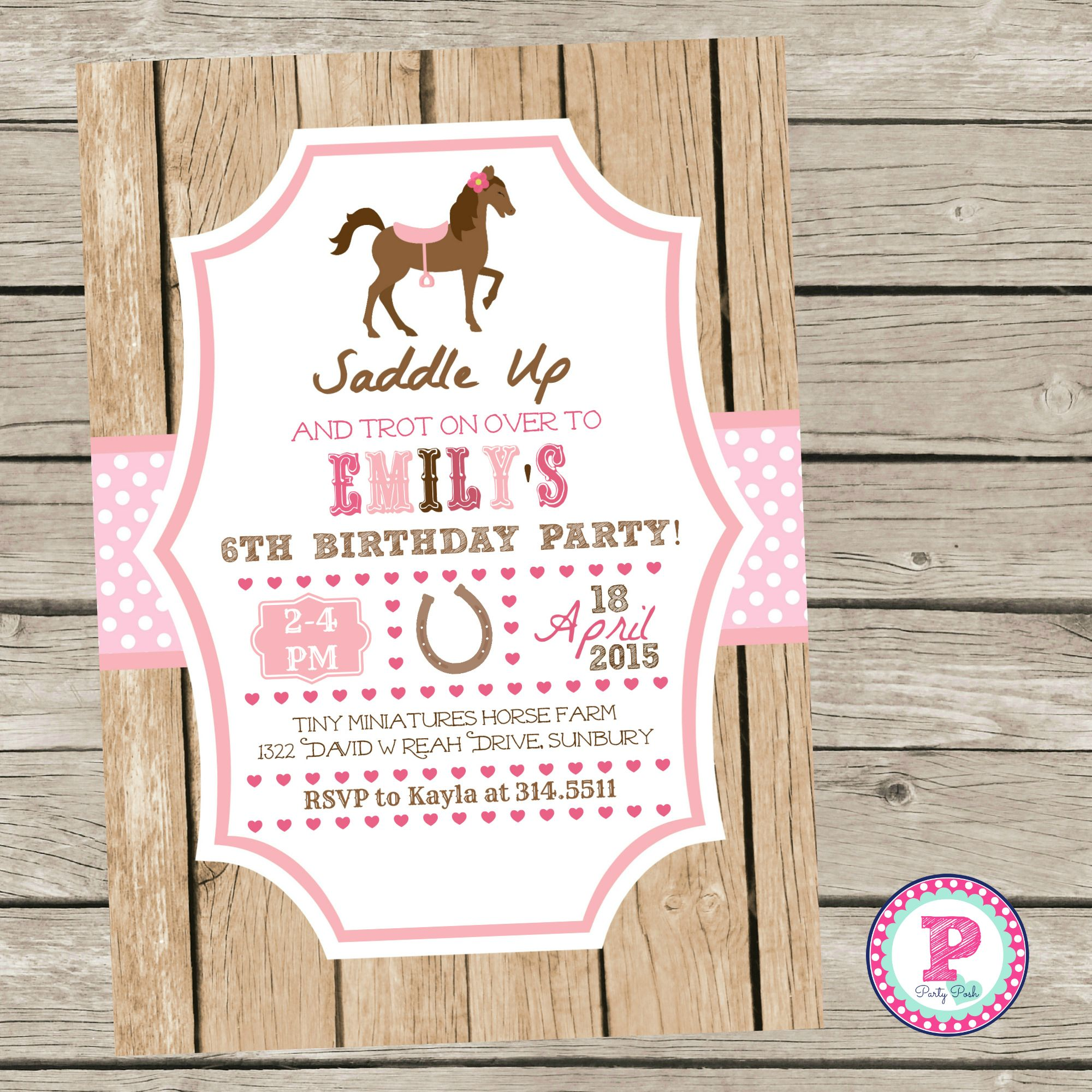 Horse Birthday Party Invitation Pony Party Pink Saddle Up
