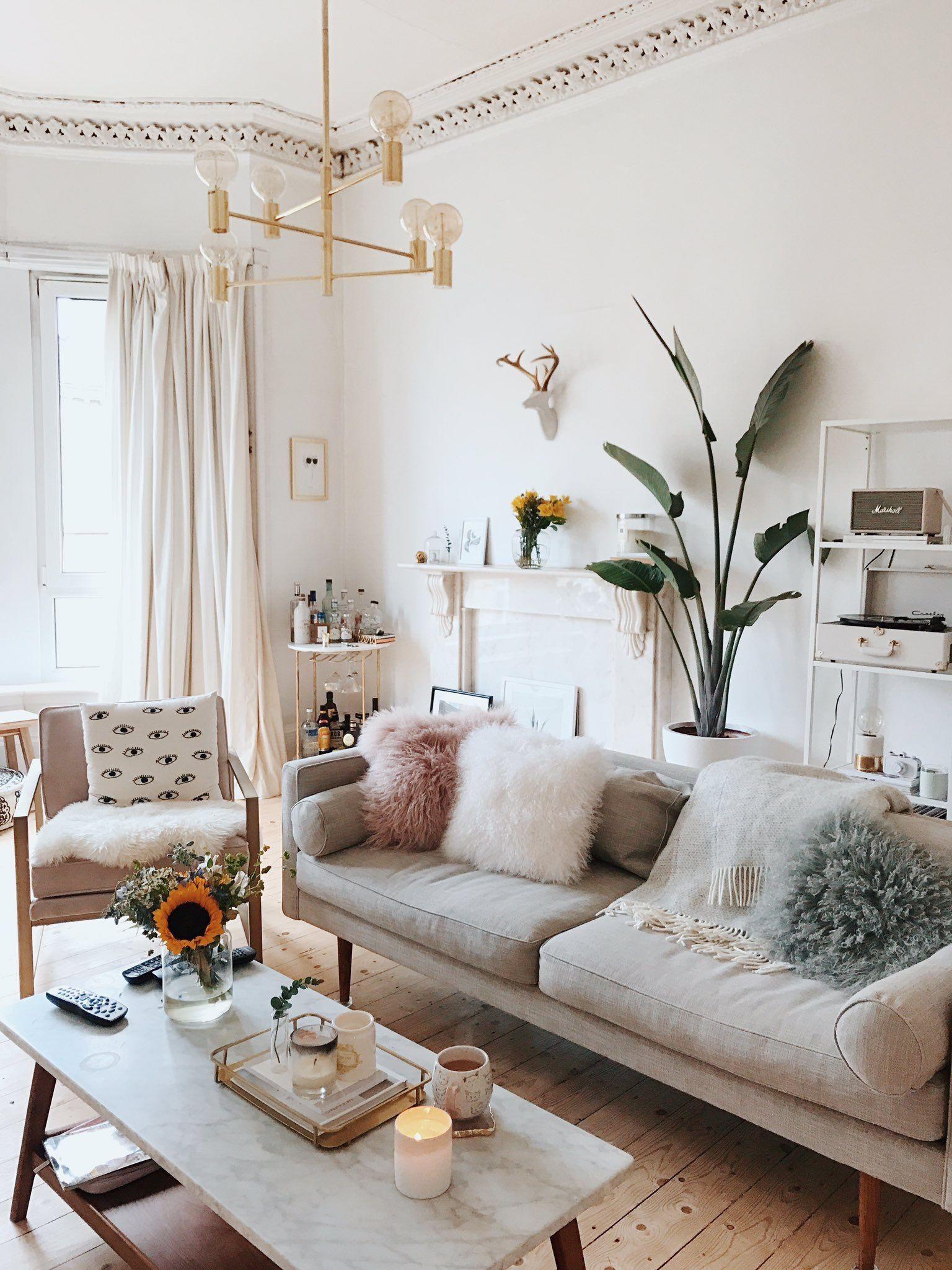 Neutral Colors And Fluffy Pillows So Serene Homedecor Inspiration Neutrallivingroom Living Room Color Living Room Colors Minimalist Living Room