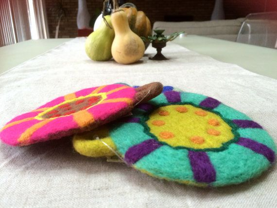 A Perfect Mother's Day Gift..Sunshine Color patterned Felt coasters.