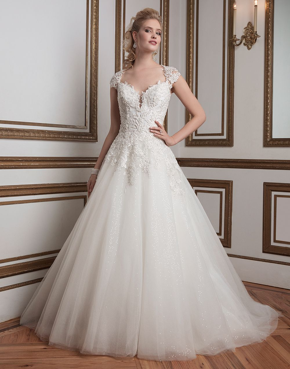 Justin Alexander Wedding Dresses Style 8807 Beaded Lace And Tulle Ball Gown Complemented With A Queen Anne Neckline