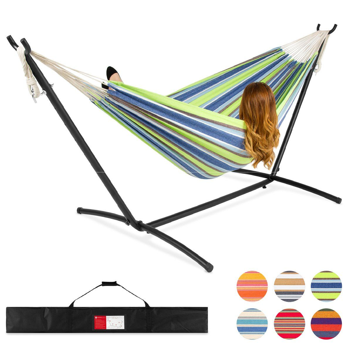 10 Person Brazilian Style Double Hammock w/ Carrying Bag and Steel ...