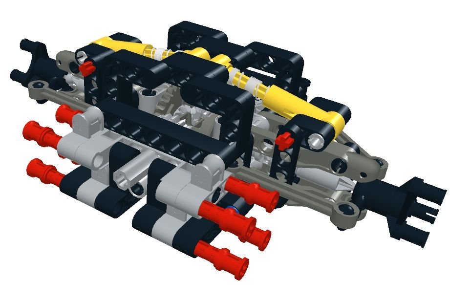 Double A-Arm Suspension and Differential with Lego Hub   LEGO