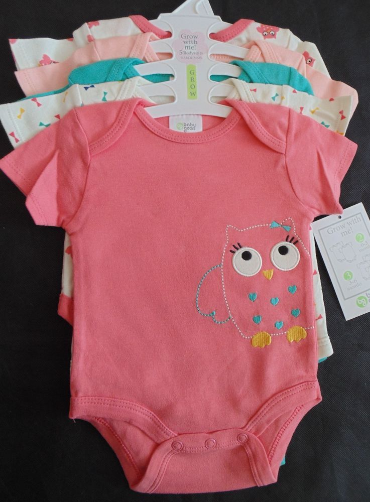 3bf209841e79 Baby Gear Girls 5-Pack Grow with Me Bodysuits Pink Owl Coral 0-3 3-6 ...