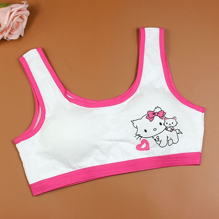 Cartoon Cat Pattern Girls Training Bras Hello Kitty Kids Soft ...
