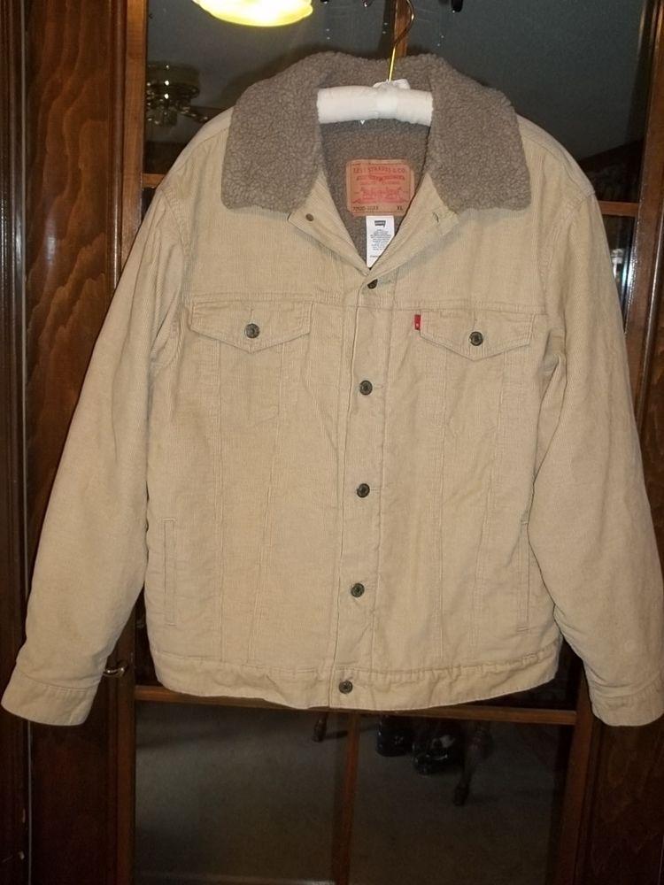 Levis tan corduroy faux sherpa lined trucker jacket xl