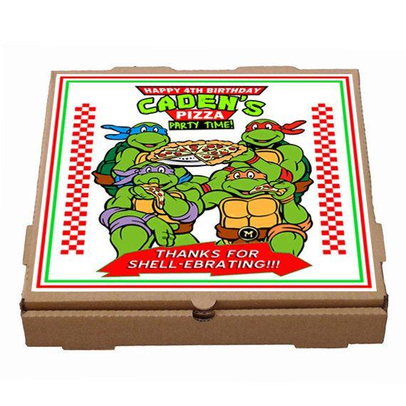 Personalized Teenage Mutant Ninja Turtles Pizza Box Label Printable Ninja Turtle Pizza Ninja Turtles Birthday Party Mutant Ninja Turtles Party