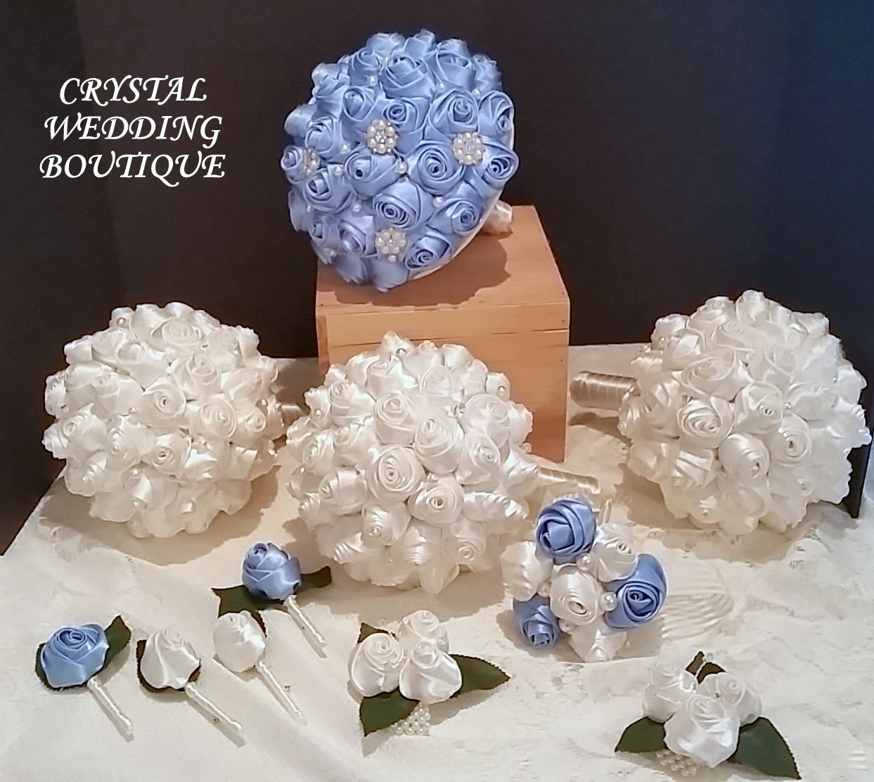 Complete set for the bridal party Mid blue for the bride and ivory for her maids and two tone for the flowergirl